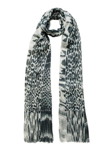 Silk and Cashmere İpek Karışımlı Doğa Motifli Jas Şal 70x180 Siyah
